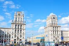 Cuadrado del ferrocarril en Minsk Imagen de archivo