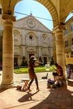 Cuadrado del Pio II de la plaza en Pienza Toscana Fotos de archivo libres de regalías