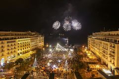 Cuadrado del ` s de Aristóteles en Salónica durante celebraciones del Año Nuevo Foto de archivo