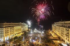 Cuadrado del ` s de Aristóteles en Salónica durante celebraciones del Año Nuevo Fotografía de archivo libre de regalías
