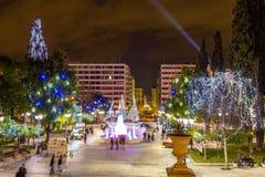 Cuadrado del sintagma en Atenas antes de la Navidad Fotografía de archivo libre de regalías