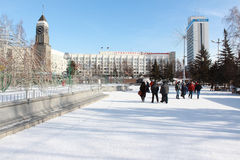 Cuadrado del teatro krasnoyarsk Fotos de archivo libres de regalías