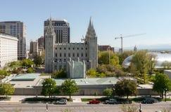 Cuadrado del templo con el templo de Salt Lake y el tabernáculo de Salt Lake imagen de archivo