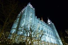 Cuadrado del templo del ` s de Salt Lake City con las luces de la Navidad Fotografía de archivo libre de regalías