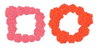 Cuadrado del vector y marcos redondos de rosas rosadas y anaranjadas Foto de archivo libre de regalías