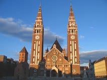 Cuadrado e iglesia votiva 05, Szeged, Hungría de los Dom Imagen de archivo