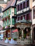 Cuadrado en la calle en Obernai Imagenes de archivo