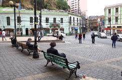 Cuadrado en Valparaiso, Chile Imágenes de archivo libres de regalías