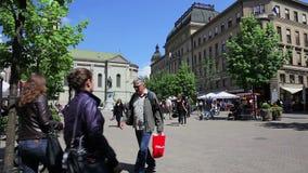 Cuadrado floral en el centro de ciudad, Zagreb almacen de video