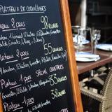 Cuadrado francés del tablero del menú de la tiza de París Francia del restaurante Foto de archivo libre de regalías
