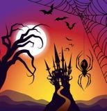 Cuadrado frecuentado Halloween del paisaje del castillo stock de ilustración