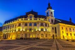 Cuadrado grande en Sibiu Rumania Fotografía de archivo libre de regalías