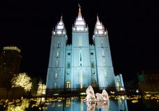 Cuadrado histórico del templo por noche Fotografía de archivo libre de regalías