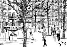 Cuadrado imaginario en París stock de ilustración
