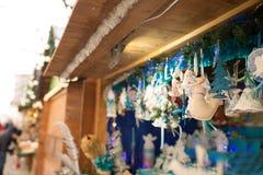 Cuadrado justo del Año Nuevo en el centro de Lviv en enero Venta de Foto de archivo libre de regalías