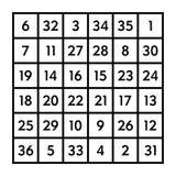 cuadrado mágico 6x6 con la suma 111 del Sun stock de ilustración