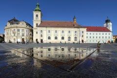 Cuadrado magnífico, Sibiu, Rumania Imagen de archivo libre de regalías