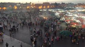 Cuadrado Marrakesh del EL Fna de Jamaa del lapso de tiempo metrajes