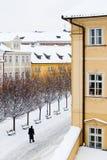 Cuadrado nevado con los árboles y la silueta del hombre que camina Imagen de archivo