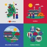 Cuadrado plano de 4 iconos de la cultura coreana ilustración del vector