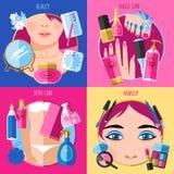 Cuadrado plano de los iconos de la belleza 4 del maquillaje Imagen de archivo libre de regalías