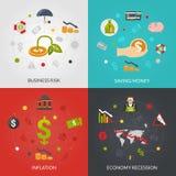 Cuadrado plano de los iconos de la crisis 4 de Ffinancial libre illustration