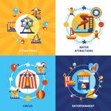 Cuadrado plano de los iconos del parque de atracciones 4 Imagen de archivo libre de regalías
