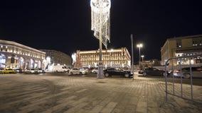 Cuadrado por la tarde, Moscú, Rusia de Lubyanskaya Lubyanka de la decoración de los días de fiesta del Año Nuevo de la Navidad Foto de archivo