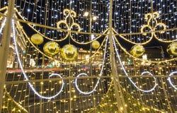 Cuadrado por la tarde, Moscú, Rusia de Lubyanskaya Lubyanka de la decoración de los días de fiesta del Año Nuevo de la Navidad Fotos de archivo libres de regalías