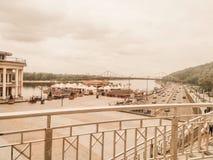 Cuadrado postal   Puerto fluvial   Kiev, Ucrania imagen de archivo libre de regalías