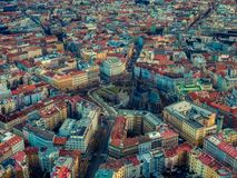 Cuadrado Praga checo de la paz de la mosca del abejón de Namesti Miru foto de archivo libre de regalías