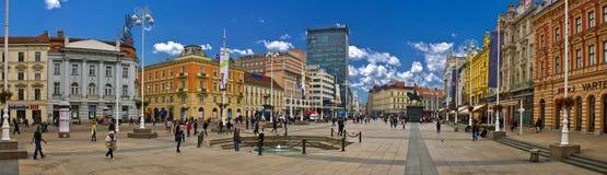 Cuadrado principal de capital croata de Zagreb Imagen de archivo