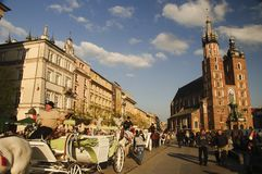Cuadrado principal de Kraków Imagen de archivo