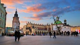 Cuadrado principal en Kraków Fotografía de archivo libre de regalías