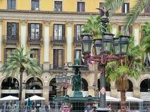 Cuadrado real (plaza real) en Barcelona Imagenes de archivo