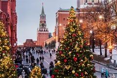 Cuadrado rojo adornado para el día de fiesta del Año Nuevo y de la Navidad i Fotos de archivo libres de regalías