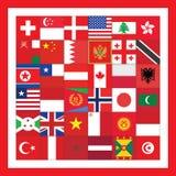 Cuadrado rojo con las banderas Fotos de archivo libres de regalías