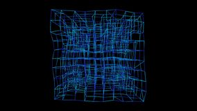 Cuadrado, ruido del fractal y caleidoscópico de neón que rielan El modelo hizo con un sistema de la partícula Animaci?n colocada  ilustración del vector