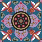 Cuadrado tradicional chino oriental del pez de colores del melocotón de la flor de loto del modelo libre illustration