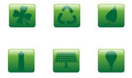 Cuadrado verde de los botones Imagen de archivo libre de regalías
