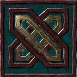 Cuadrado verde marrón del símbolo de la caja del oro Foto de archivo libre de regalías