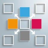 4 cuadrados coloreados 5 marcos que externalizan flechas Fotografía de archivo