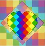 Cuadrados de colores de un arco iris con un contorno único del corazón en el centro simbolismo del lgbt stock de ilustración