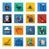 Cuadrados de Icons In Colorful del herrero Foto de archivo