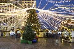 Cuadrados del árbol de navidad en Moscú Imagenes de archivo