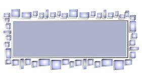 Cuadrados del azul de la insignia del Web page Fotografía de archivo