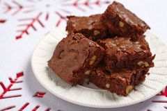 Cuadrados del brownie Imagenes de archivo