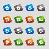 Cuadrados del corte - iconos del formato de archivo Imagen de archivo