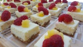 Cuadrados del pastel de queso Imágenes de archivo libres de regalías