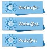 Cuadrados del podcast de Webinar Webcast Fotografía de archivo libre de regalías